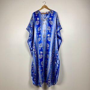 Vintage Royal Blue Satin Caftan